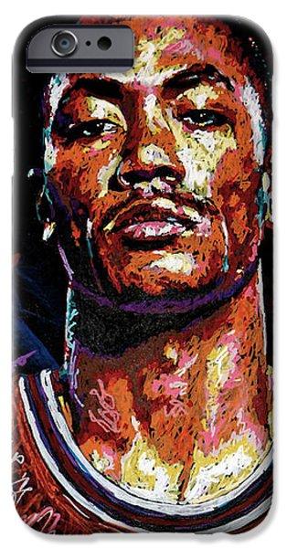 Derrick Rose-2 IPhone Case by Maria Arango