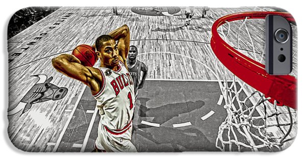Derrick Rose Took Flight IPhone Case by Brian Reaves