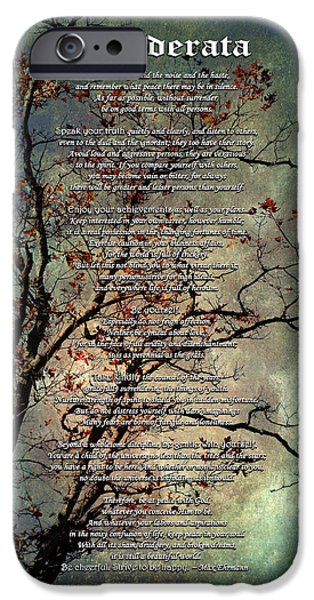 Desiderata Inspiration Over Old Textured Tree IPhone Case by Christina Rollo