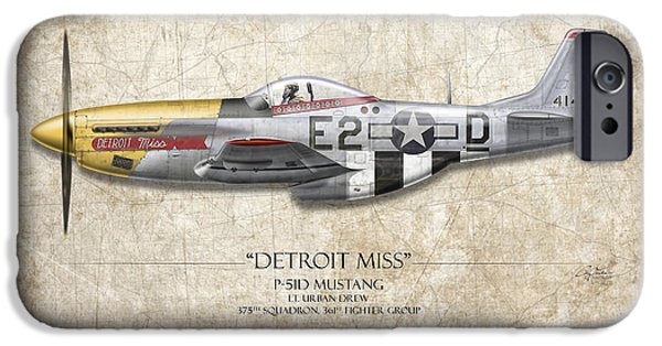 Detroit Miss P-51d Mustang - Map Background IPhone Case by Craig Tinder