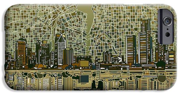 Detroit Skyline Abstract 4 IPhone Case by Bekim Art
