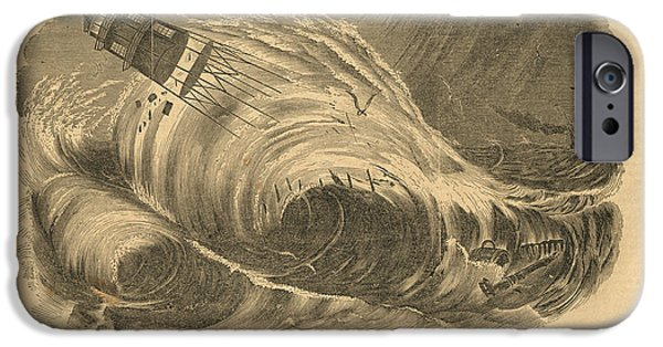 Detstruction Of Minots Ledge Lighthouse IPhone Case by Jerry McElroy - Public Domain Image