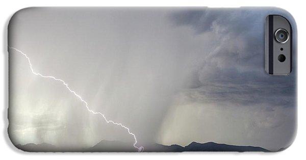 Diagonal Lightning Strike IPhone Case by Roger Hill