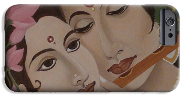 Divine Musical Romance Of Radha Krishna With The Purity Of Lotus IPhone Case by Mounika Narreddy