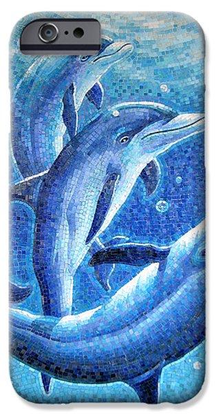 Dolphin Trio IPhone Case by Mia Tavonatti