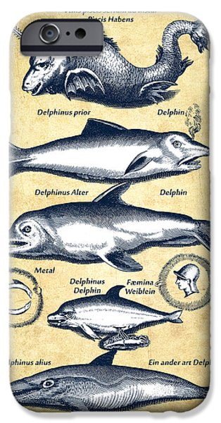 Dolphins - Historiae Naturalis - 1657 - Vintage IPhone 6s Case by Aged Pixel