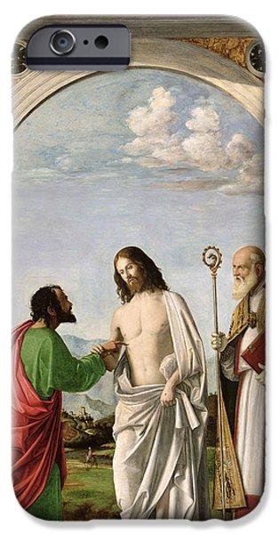 Doubting Thomas With St. Magnus IPhone Case by Giovanni Battista Cima da Conegliano