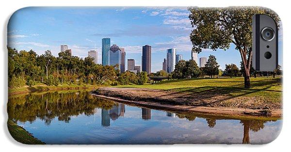 Downtown Houston Panorama From Buffalo Bayou Park IPhone Case by Silvio Ligutti