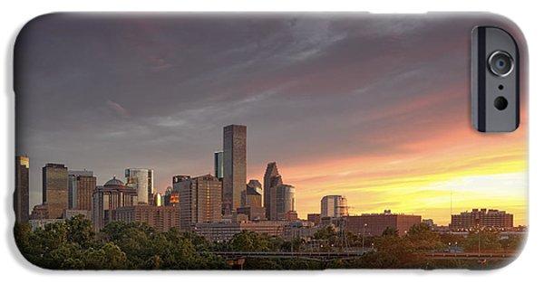 Downtown Houston Skyline Glorious Sunset Light IPhone Case by Silvio Ligutti