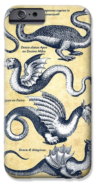 Dragons - Historiae Naturalis  - 1657 - Vintage IPhone Case by Aged Pixel