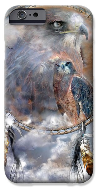 Dream Catcher - Hawk Spirit IPhone Case by Carol Cavalaris