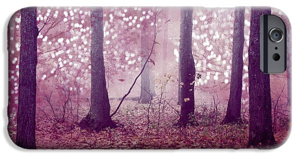 Dreamy Surreal Sparkling Twinkling Lights Pink Mauve Woodlands Tree Nature IPhone Case by Kathy Fornal