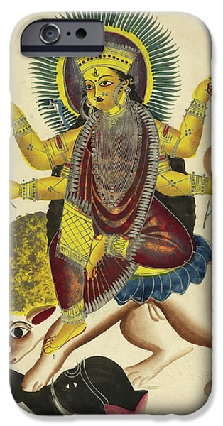 Durga As Jagaddhatri Riding On Her Lion IPhone Case by British Library