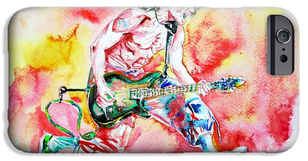 Eddie Van Halen Playing And Jumping Watercolor Portrait IPhone Case by Fabrizio Cassetta