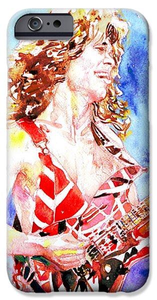 Eddie Van Halen Playing The Guitar.2 Watercolor Portrait IPhone Case by Fabrizio Cassetta