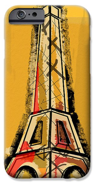 Eiffel Tower Yellow Black And Red IPhone Case by Robyn Saunders