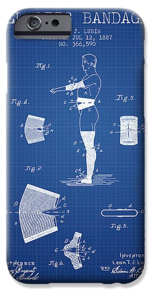 Elastic Bandage Patent From 1887 - Blueprint IPhone Case by Aged Pixel