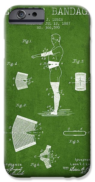 Elastic Bandage Patent From 1887 - Green IPhone Case by Aged Pixel