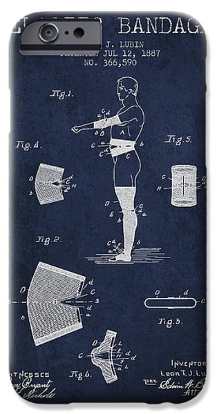 Elastic Bandage Patent From 1887 - Navy Blue IPhone Case by Aged Pixel