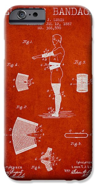 Elastic Bandage Patent From 1887 - Red IPhone Case by Aged Pixel