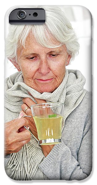 Elderly Woman Drinking Hot Lemon IPhone Case by Lea Paterson