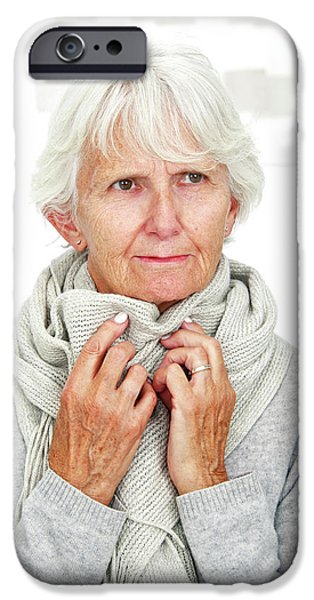 Elderly Woman Wearing A Scarf IPhone Case by Lea Paterson