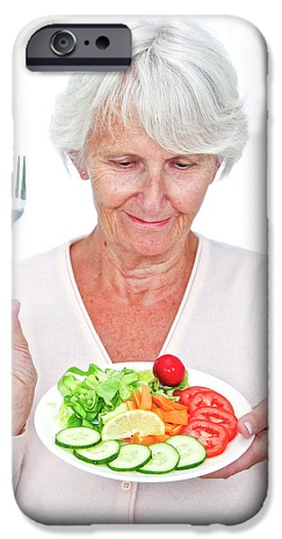 Elderly Woman With A Salad IPhone Case by Lea Paterson