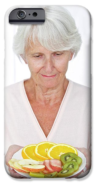 Elderly Woman With Fruit IPhone Case by Lea Paterson