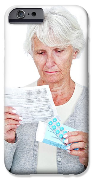 Elderly Woman With Medication IPhone Case by Lea Paterson