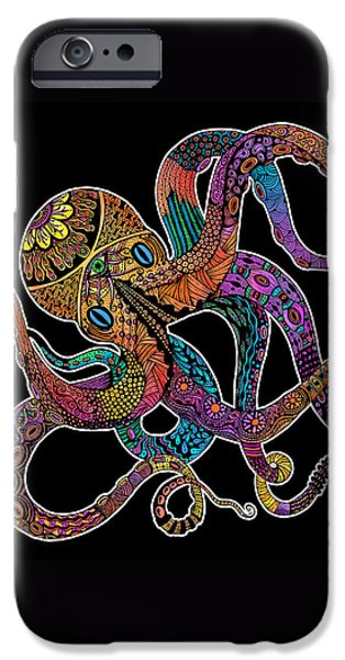 Electric Octopus On Black IPhone Case by Tammy Wetzel