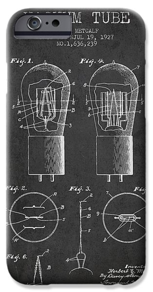 Electrode Vacuum Tube Patent From 1927 - Charcoal IPhone Case by Aged Pixel