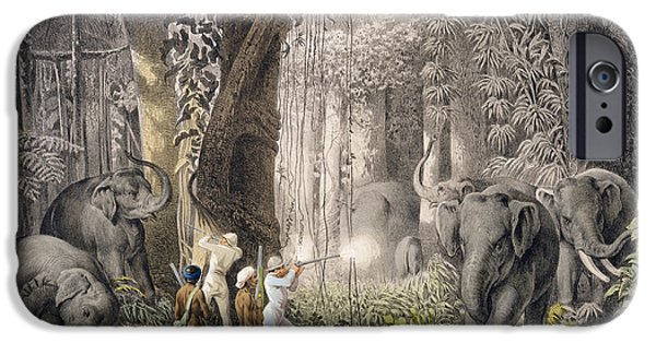 Elephant Hunt In The Region Of Logalla IPhone Case by Graf Emanuel Andrasy