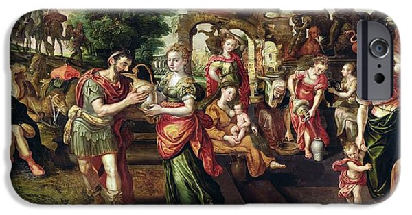 Eliezer And Rebecca At The Well, 1562 Oil On Panel IPhone Case by Maarten de Vos