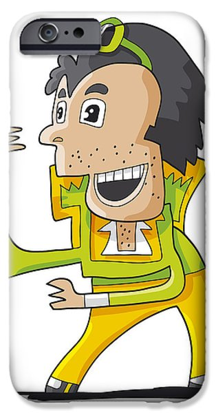 Elvis Double Singer Doodle Character IPhone Case by Frank Ramspott