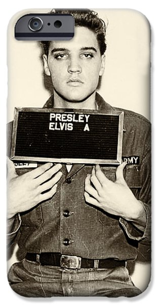 Elvis Presley - Mugshot IPhone Case by Digital Reproductions