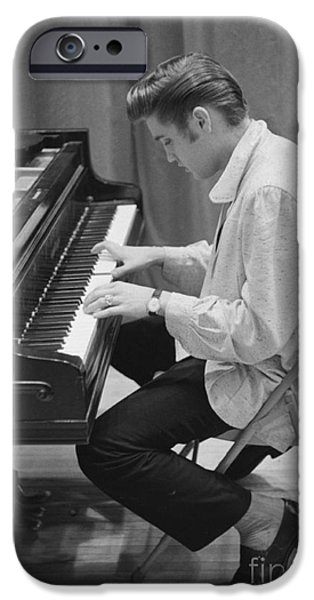 Elvis Presley On Piano While Waiting For A Show To Start 1956 IPhone Case by The Phillip Harrington Collection