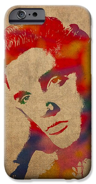 Elvis Presley Watercolor Portrait On Worn Distressed Canvas IPhone Case by Design Turnpike