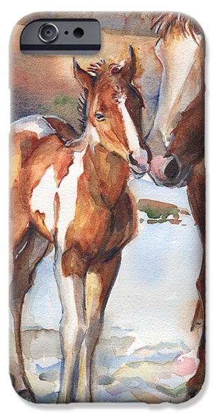 horse painting in watercolor Eskimo Kisses IPhone Case by Maria's Watercolor
