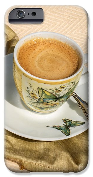 Espresso In Butterfly Cup IPhone Case by Iris Richardson