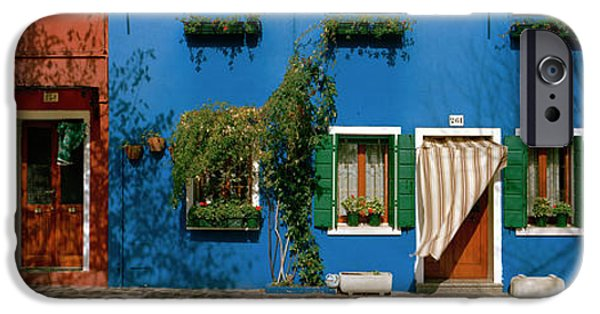 Facade Of Houses, Burano, Veneto, Italy IPhone Case by Panoramic Images