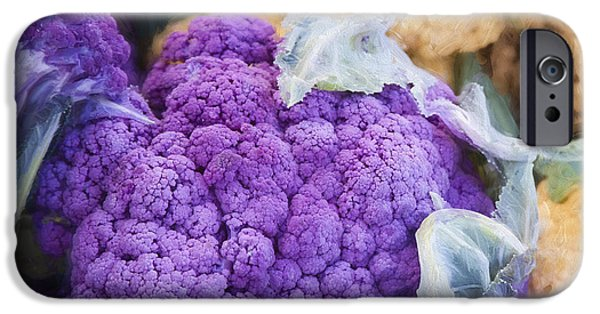 Farmers Market Purple Cauliflower Square IPhone Case by Carol Leigh