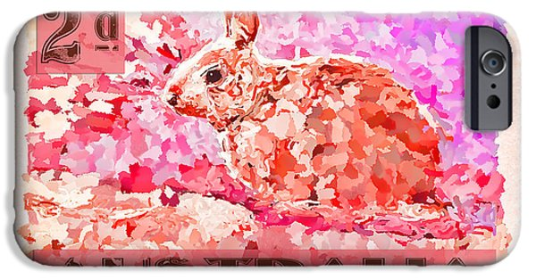 Faux Poste Bunny 2d IPhone Case by Carol Leigh