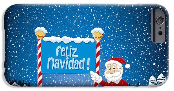 Feliz Navidad Sign Santa Claus Winter Landscape IPhone Case by Frank Ramspott