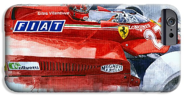 Ferrari 126c Silverstone 1981 British Gp Gilles Villeneuve IPhone Case by Yuriy Shevchuk