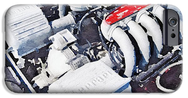 Ferrari 512 Tr Testarossa Engine Watercolor IPhone Case by Naxart Studio