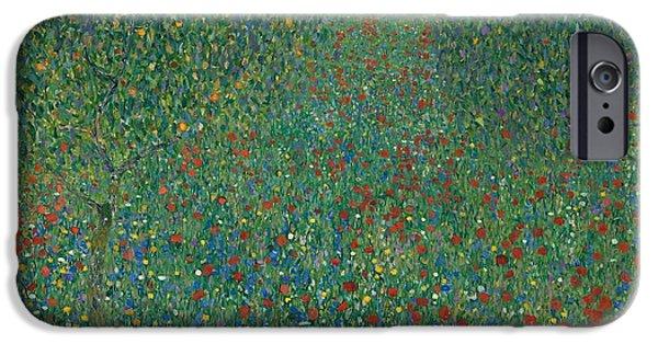 Field Of Poppies IPhone Case by Gustav Klimt