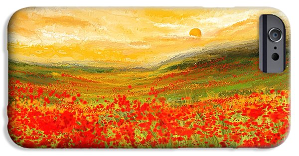 Field Of Poppies- Field Of Poppies Impressionist Painting IPhone Case by Lourry Legarde