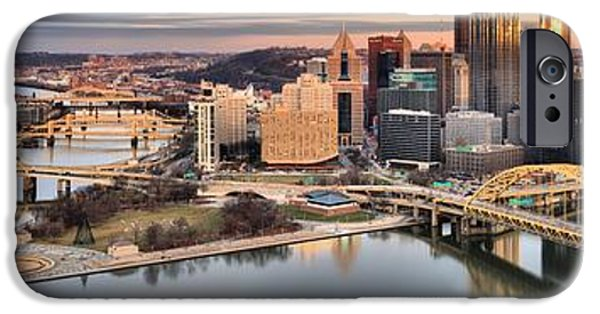 Fire Over The Pittsburgh Skyline IPhone Case by Adam Jewell