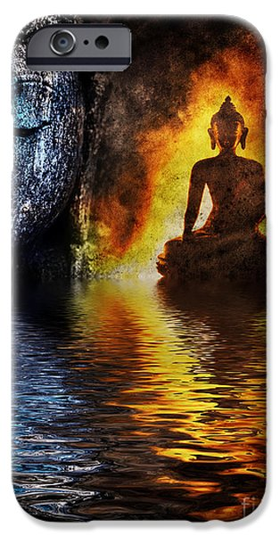 Fire Water Buddha IPhone Case by Tim Gainey