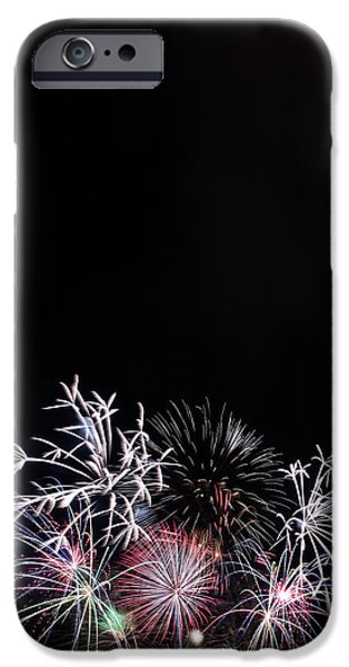 Firework Display At Night Sky IPhone Case by Panoramic Images